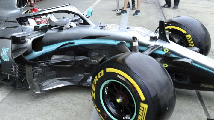 Mercedes driver Lewis Hamilton of Britain steers his car