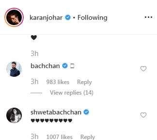 India Tv - Shweta and Abhishek Bachchan responds to Karan's post on Instagram