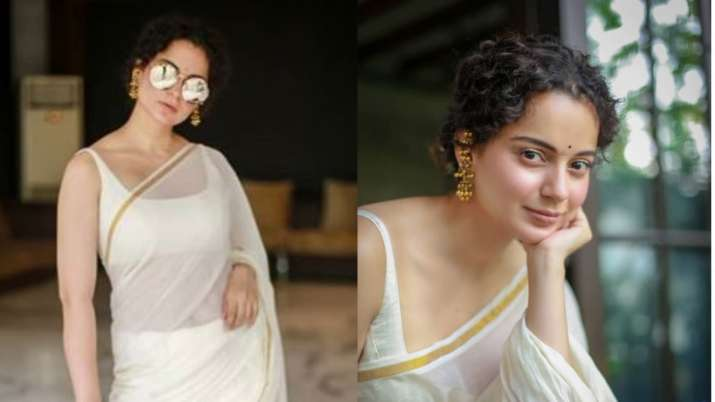 Kangana Ranaut is a vision in white, stuns in mulmul saree