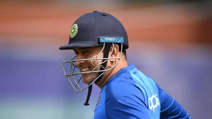 MS Dhoni of India prepares to bat during a net session at