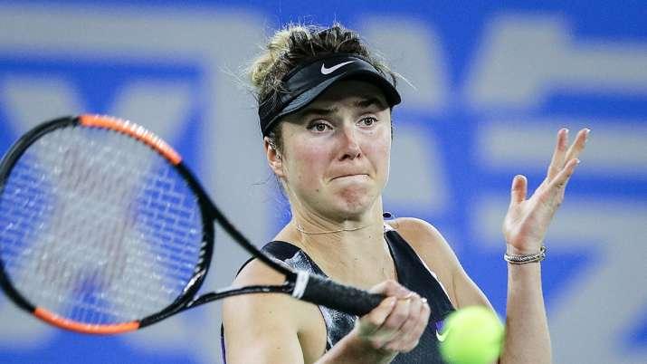 Elina Svitolina of Ukraine returns a shot during the match