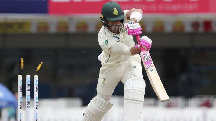 South Africa's captain Faf du Plessis is bowled out by