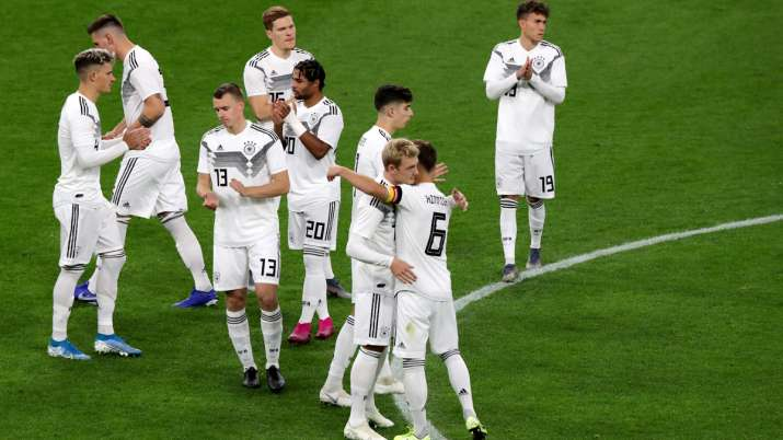 The team of germany comes together prior to the International Friendly between Germany and Argentina