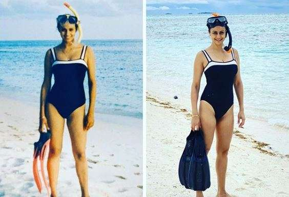 """""""Then and now. Back in Maldives after twenty years! My"""