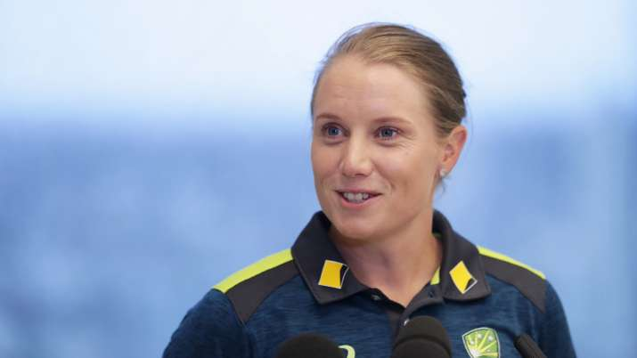 Australian cricketer Alyssa Healy speaks to the media