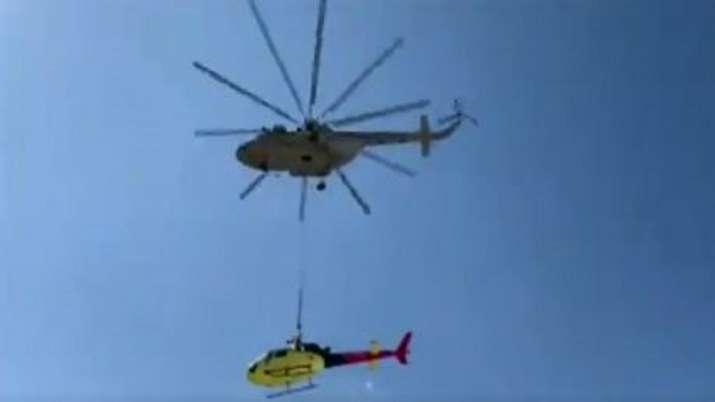 IAF choppers transport wreckage of pvt aircraft that crashed near Kedarnath shrine