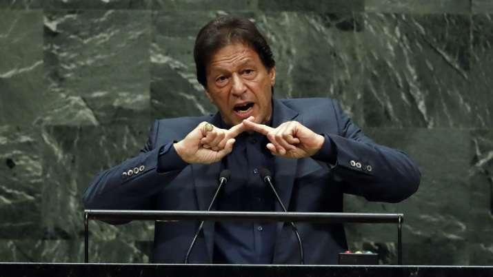 Pakistan's Prime Minister Imran Khan addresses the 74th