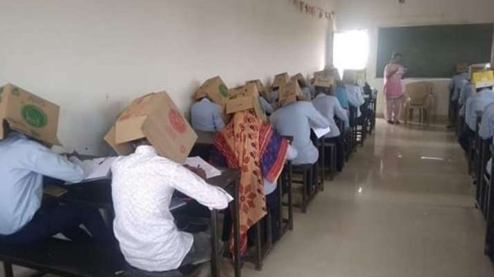 Karnataka students made to wear cartons to avoid copying