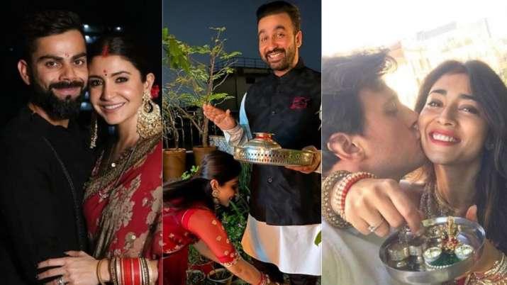 Bollywood celebrates Karwa Chauth: Anushka Sharma, Mira Rajput and Bipasha Basu shilpa shetty raveen
