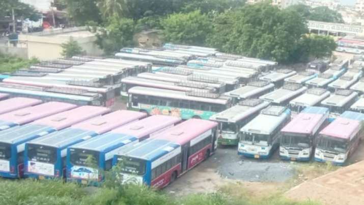 India Tv - Bus stands and depots have worn a deserted look.