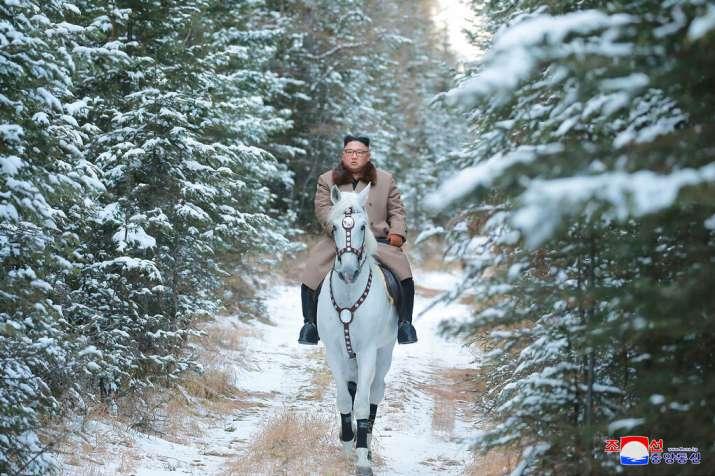 India Tv - Kim Jong Un rides a white horse to climb Mount Paektu, North Korea.