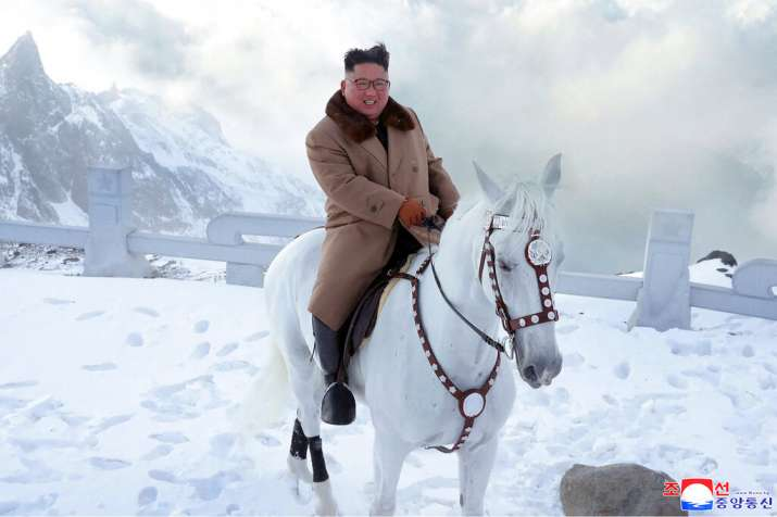 India Tv - Kim Jong Un, North Korea leader, poses for a photo after his horse ride on Mt Paektu.