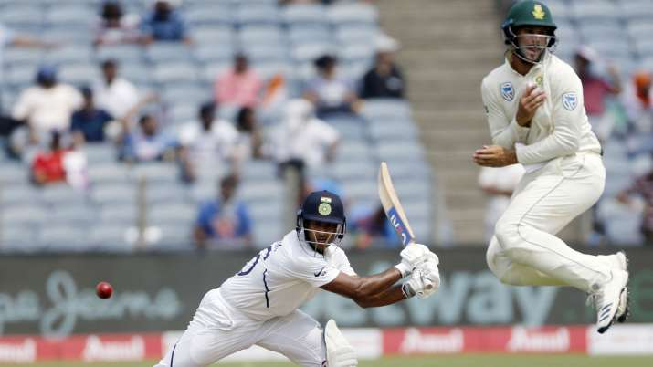 India Tv - Mayank Agarwal played some exquisite cover drives on his way to a century