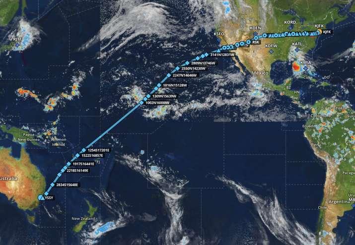 India Tv - Qantas New York-Sydney flight path