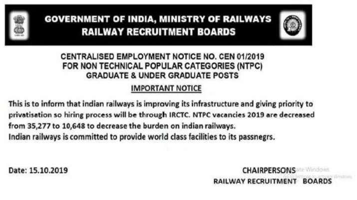 India Tv - RRB NTPC 2019: Fake Notification for Decreased Vacancies