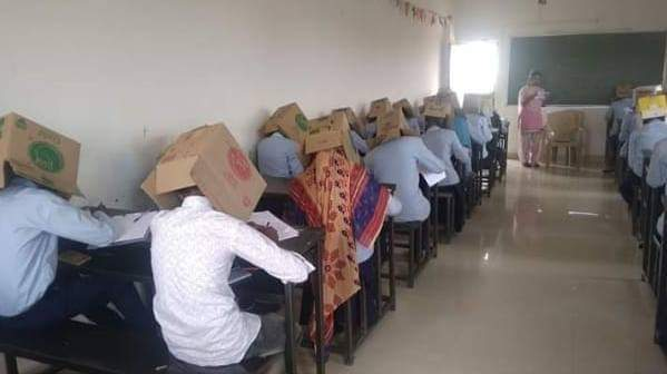 Karnataka college apologises for making students wear cardboard boxes during exam