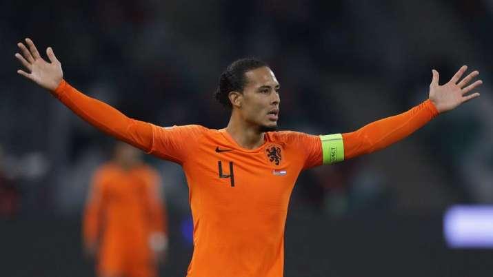 Netherlands' Virgil van Dijk gestures during the Euro 2020