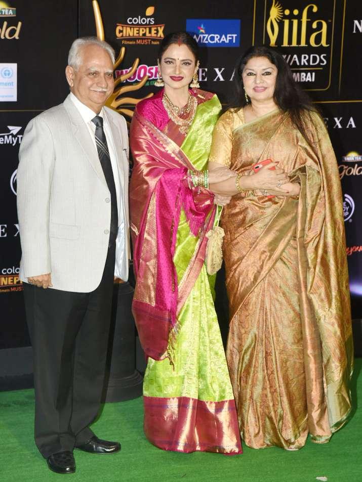 India Tv - Rekha in a beautiful kanjivaram saree.