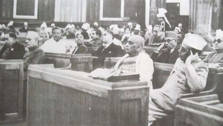 India Tv - First day (9 December 1946) of the Constituent Assembly. From right: B. G. Kher and Sardar Vallabhai Patel; K. M. Munshi is seated behind Patel.