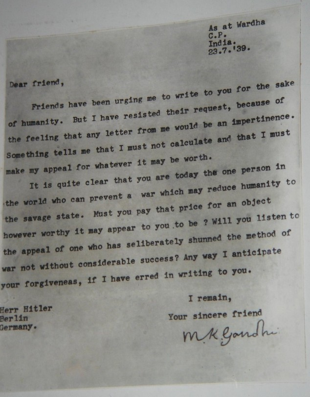 India Tv - Gandhi's letter to Hitler, 1939.