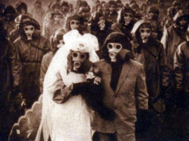 India Tv - Gas mask wedding in Miyakejima, Japan.