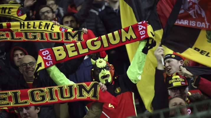 Belgium supporters celebrate at the end of the Euro 2020