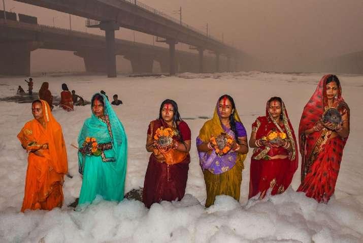 Toxic foam engulfs Yamuna in Delhi.