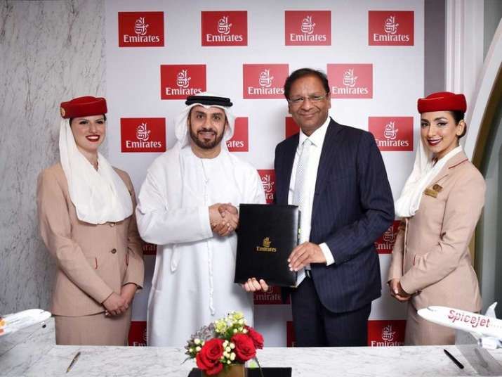 Adnan Kazim, Emirates' Chief Commercial Officer and Ajay Singh, Chairman and Managing Director, Spic