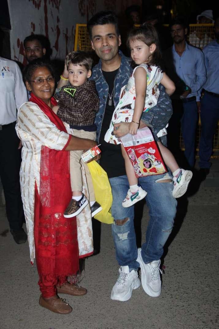 India Tv - Karan Johar arrived with his kids Yash and Roohi