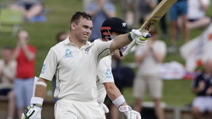 New Zealand's Tom Latham celebrates after scoring a century