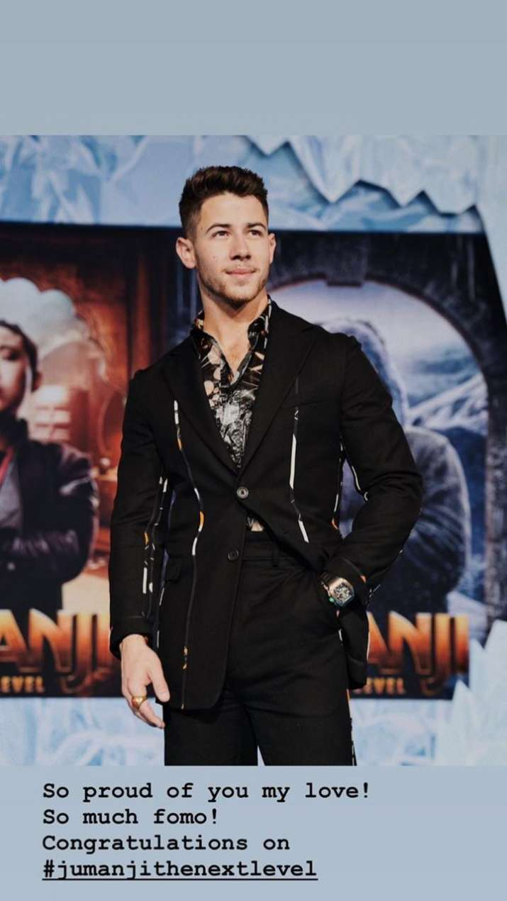India Tv - Priyanka Chopra congratulates husband Nick Jonas for Jumanji: The Next Level