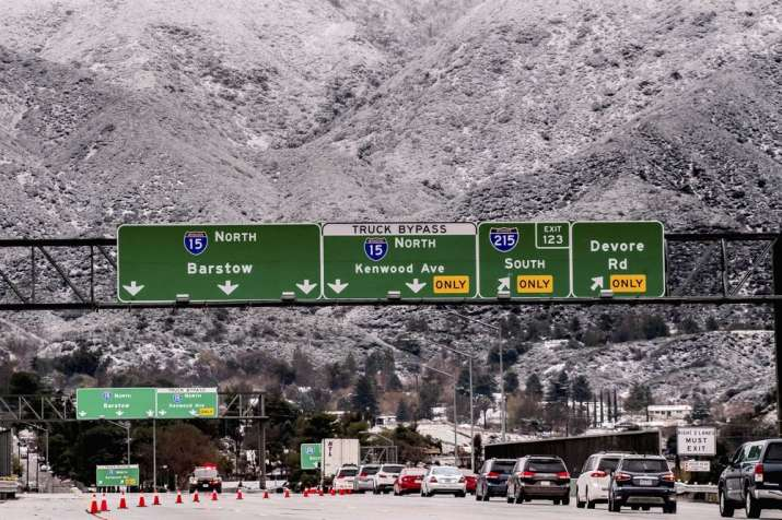 Video: Massive traffic jam on icy state highways in snow-blanketed California