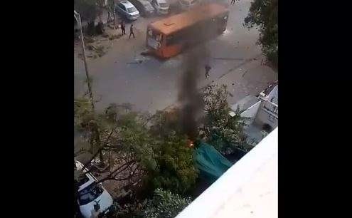 Jamia protests: CCTV footages reveal protesters burning DTC bus