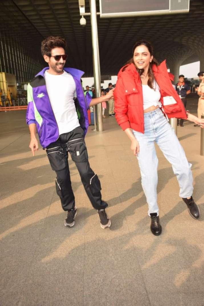 India Tv - Kartik Aaryan keeps his promise, teaches Deepika Padukone Dheeme