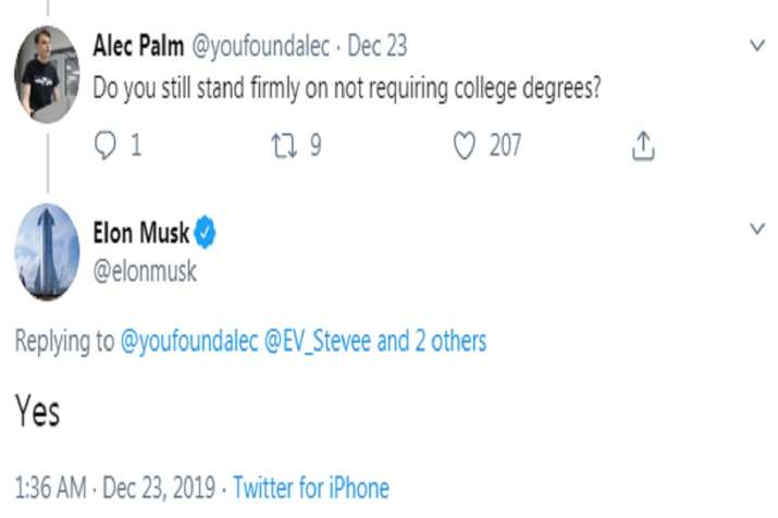 India Tv - Screen grab of Elon Musk reply to a Twitter user