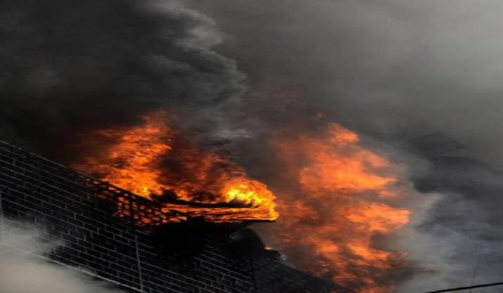 Hospital boundary wall damaged, shanties gutted in blaze