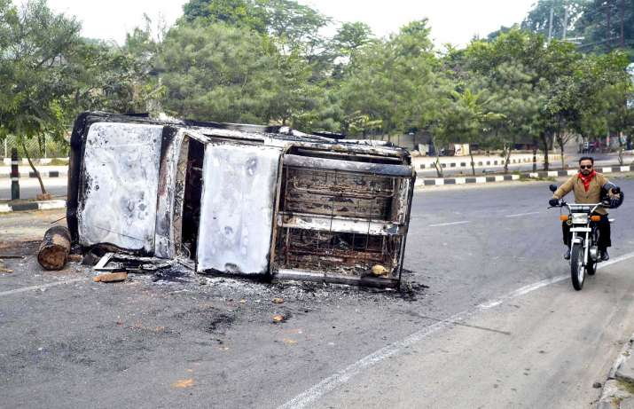 India Tv - Anti-CAB stir: Vehicles torched in Assam, Bengal