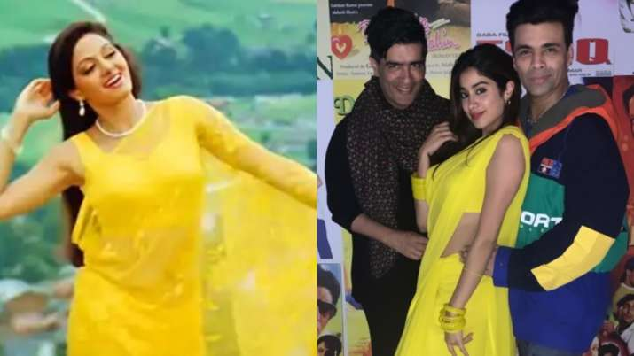 Latest News Janhvi Kapoor recreates mom Sridevi's yellow chiffon saree look from Chandni and we are