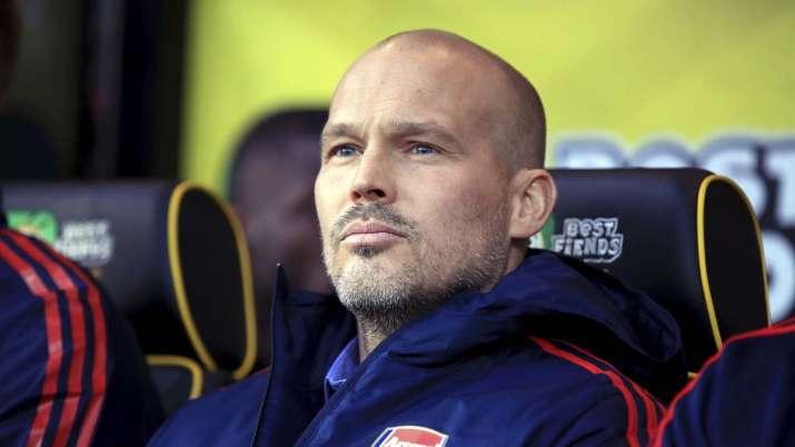 Arsenal's interim head coach Freddie Ljungberg looks out