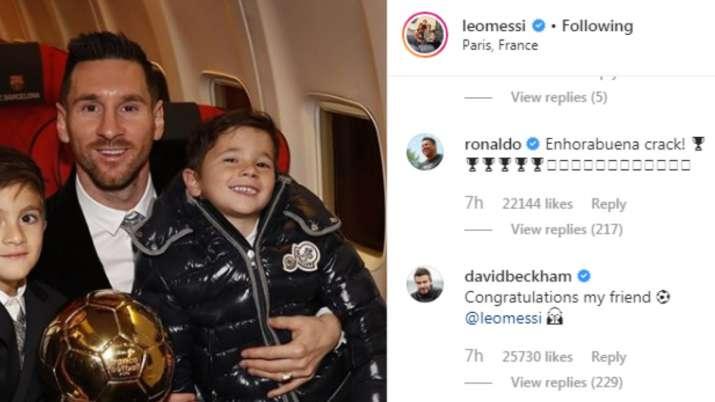 India Tv - David Beckham and Ronaldo wish Lionel Messi.