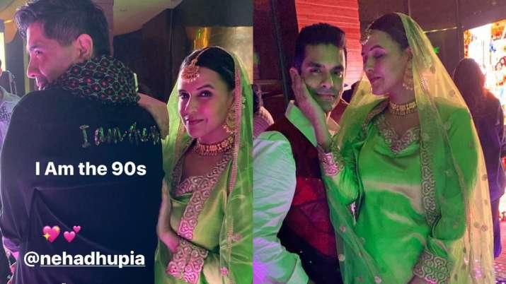 India Tv - Neha Dhupia and Angad Bedi as Raj and Simran from DDLJ