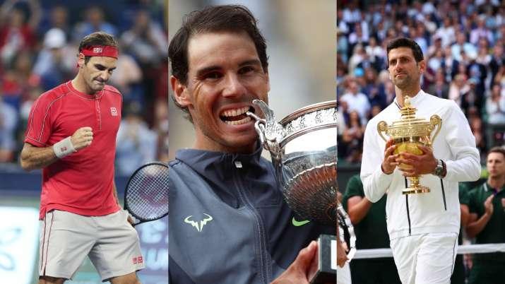 India Tv - Roger Federer(Left), Rafael Nadal (Center), Novak Djokovic (Right)