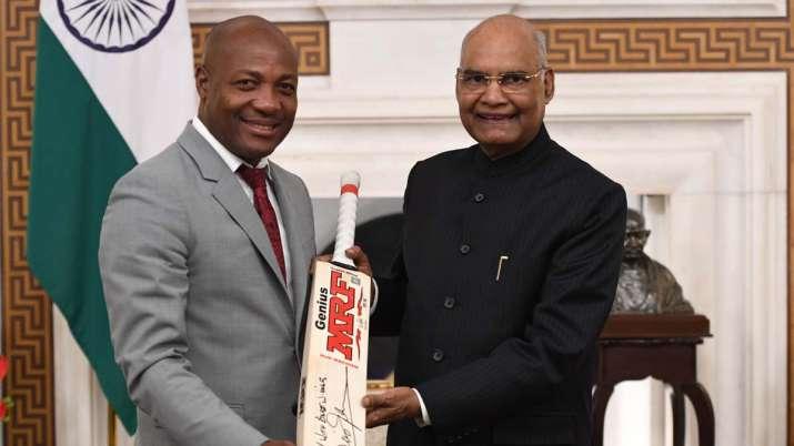 Brian Lara meets President Ram Nath Kovind at Rashtrapati Bhavan