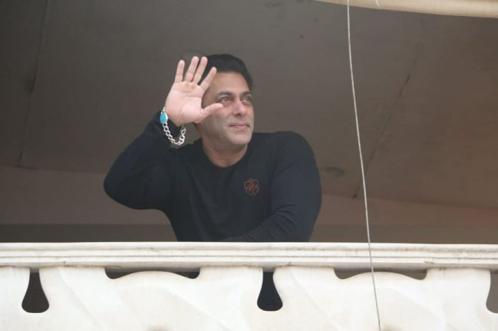 India Tv - Salman Khan greets fans from his balcony
