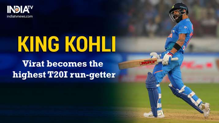 India Tv - Indian captain Virat Kohli has become the highest run-getter in T20Is, going past fellow teammate Rohit Sharma.