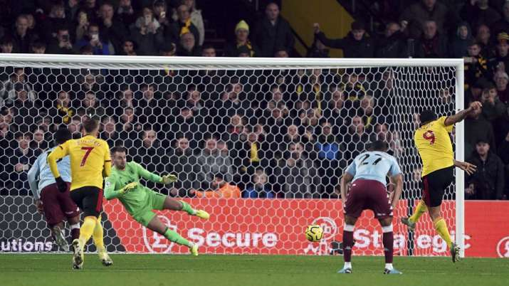 Watford's Troy Deeney scores against Aston Villa during the