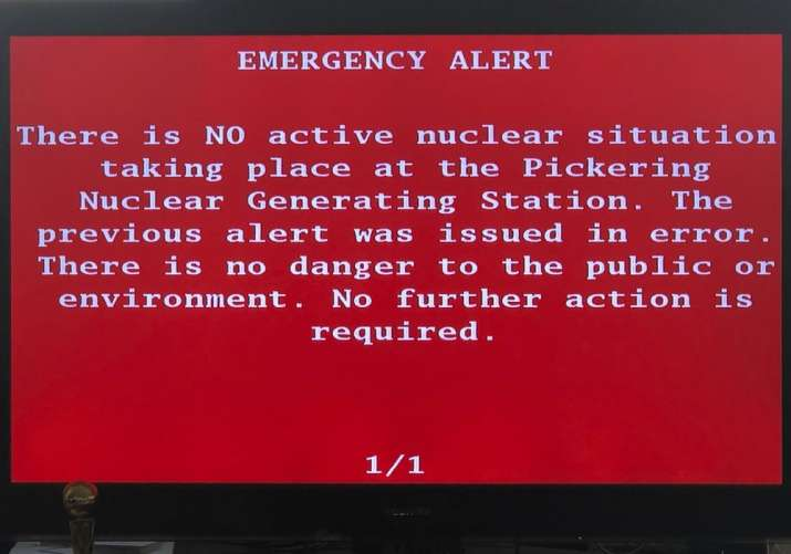 India Tv - An emergency alert issued by the Canadian province of Ontario is shown on a television Sunday, Jan.