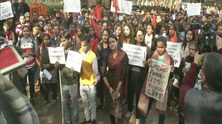 ABVP takes out march in DU against 'Left violence', supporting CAA