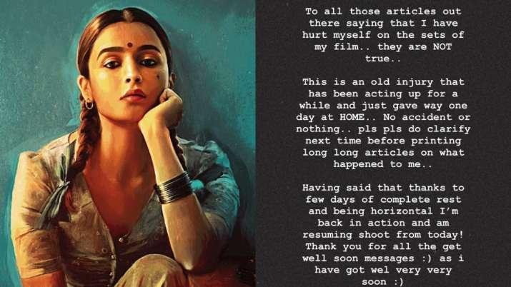 Alia Bhatt clarifies rumours of getting hurt on Gangubai Kathiawadi sets