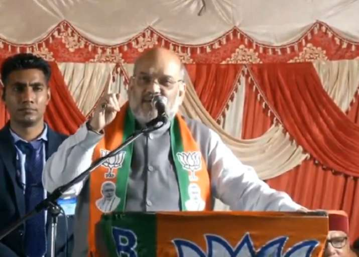 Amit Shah addressing a rally in Delhi on Sunday